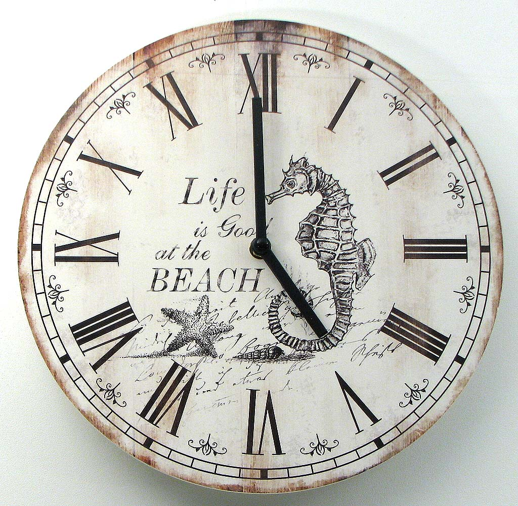 Beach Coastal Nautical Wood Wall Clock