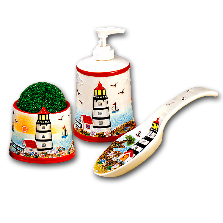 A Lighthouse Nautical CoastalBeach Holder,Spoonrest,Pump