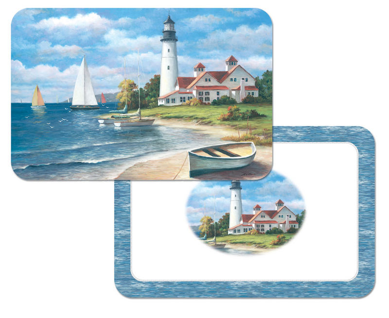 4 Coastal/Beach-Nautical Lighthouse Mural Plastic Placemats