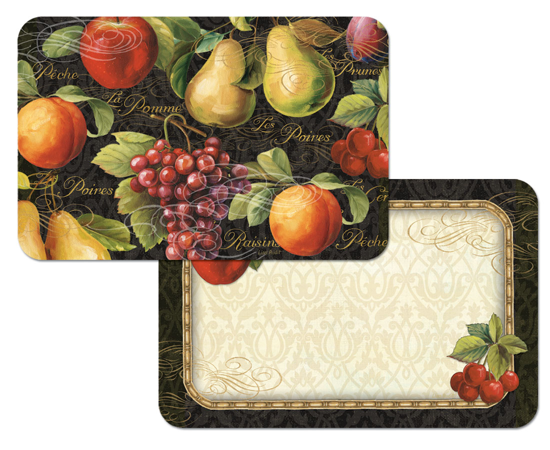 A Placemat Set-12- Vinyl-Plastic Gourmet Fruit