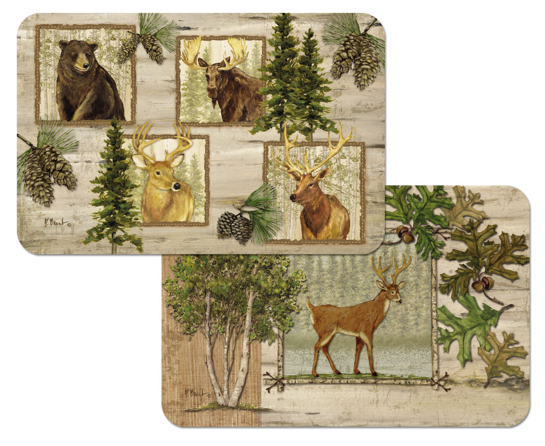 A Cabin/Lodge/Bear/Deer Wildlife Placemat-Woodland Trails