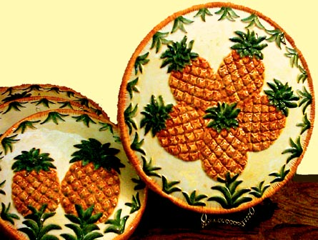 * Tropical Themed 4 Pineapple Stove Ceramic Burner Covers
