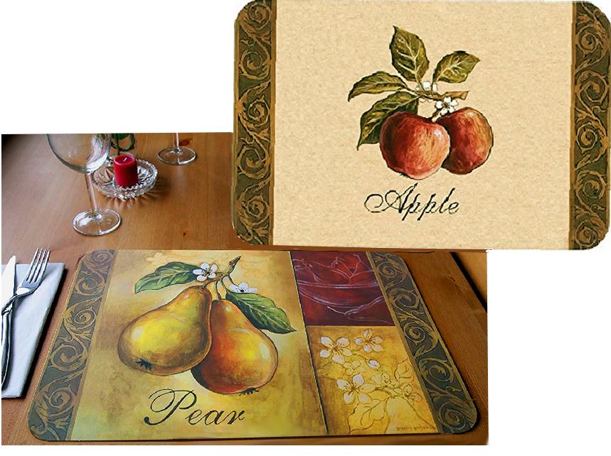 4 nappes réversibles en plastique poire, pomme et pomme