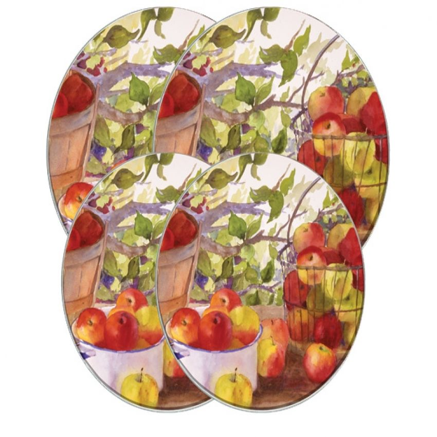 Country Apple Baskets Round Metal Burner Covers