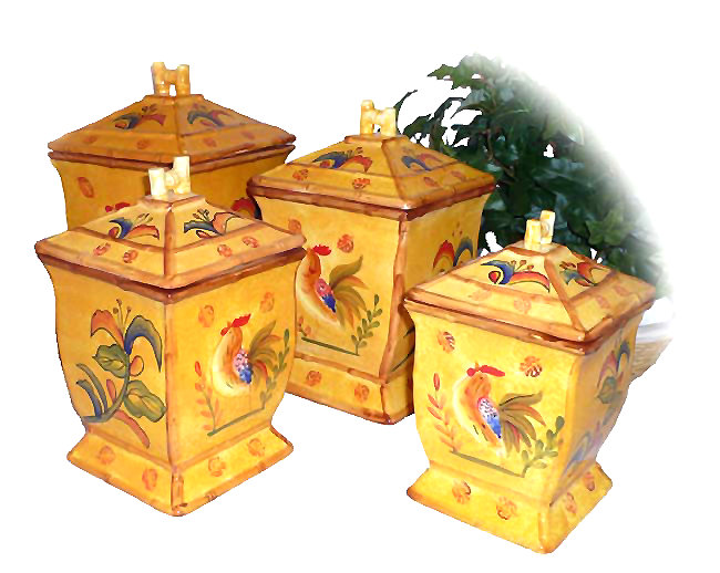 A 4-pc Bamboo Rooster Ceramic Kitchen Canister Set