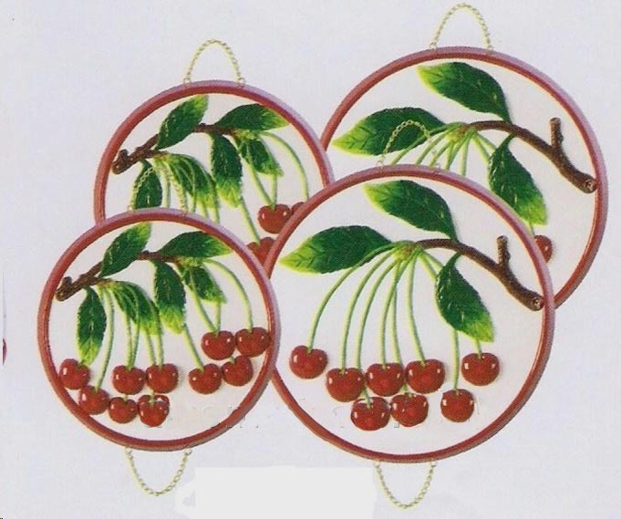 4 Ceramic Cherry Like Julies Cherries Stove Burner Covers