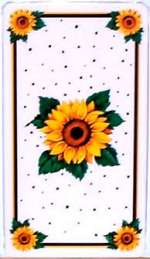 _  A Burner Cover Set Metal Double Rectangle Sunflowers