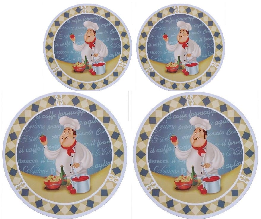 Blue Chef Themed Round Stove Metal Burner Covers