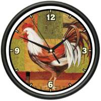 Country Farm Rooster Kitchen Wall Clock
