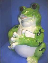 3-D Fat Frog Ceramic Cookie Jar