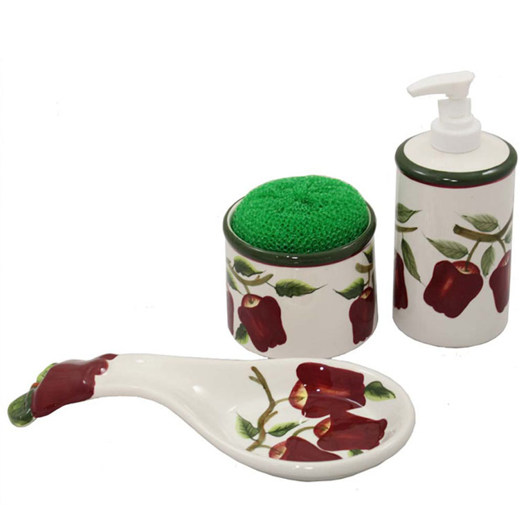 New Apple Ceramic Spoonrest-Soap Dispenser Pump