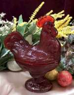 Red Glass Nesting Rooster/ Hen Candy-Cookie Jar