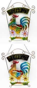 Welcome Rooster Wall Plaque 2 assorted, priced each