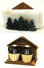 Moonshine Lodge/Cabin Decor Salt & Pepper and Napkin Holder