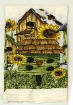 A 2-pc Country Sunflower/Birdhouse Designer Kitchen Towel