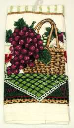 A 2-pc Set Basket of Wine Grapes Designer Kitchen Towel