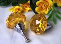 LARGE Set Of 2 Amber Solid Crystal Glass DrawerDoor Pull