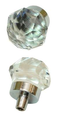 SMALLSet Of 2  Clear Crystal Glass DrawerDoor Pull