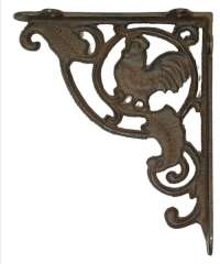 Rust Cast Iron Rooster Shelf Bracket