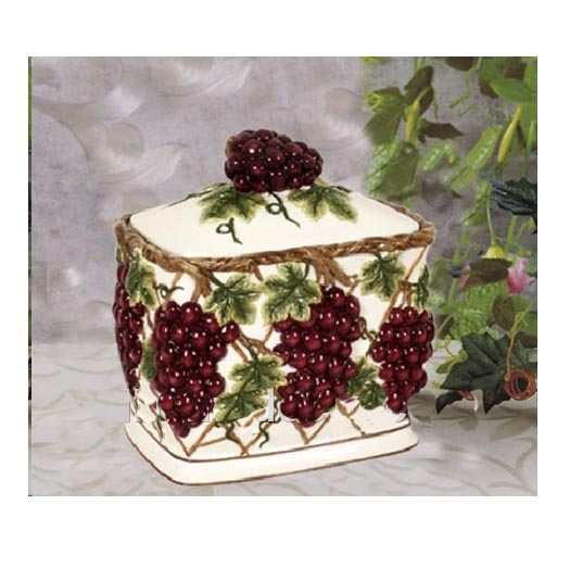 A Ceramic Cookie jar - 3-D Grapevine
