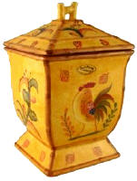 Bamboo Rooster Cookie Jar