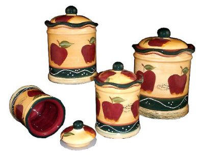 country apple vintage style heavy kitchen canisters 3 piece apple canister set with fresh seal covers