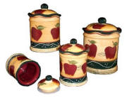 ~ Country Apple Vintage Style Heavy Kitchen Canisters
