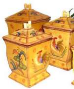 Bamboo Rooster Ceramic Kitchen Canister Set