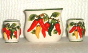 Chili Pepper Ceramic 3pc napkin set