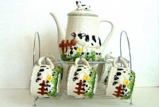 A Ceramic Cows Decor Coffee or Teaset - CLEARANCE !!!