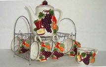 A Ceramic Fruit Coffee or Teaset - SALE
