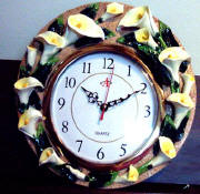 A Calla Lily Ceramic Kitchen Wallclock- CLEARNCE!!!