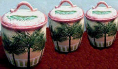 Palm Tree 3 Ceramic Storage Jars /Canisters