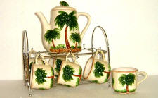 A Ceramic Palm Tree Coffee or Tropical Teaset-CLEARANCE!