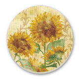 A Set 2 Cork-Back Sunflower Tile Trivets-Reflections of Sun