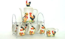 A Ceramic Sunflower/Rooster Coffee or Teaset-CLEARANCE!