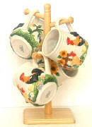 A Sunflower/Rooster Ceramic Mug and Mug Tree Set