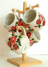 A Rose Mug Set w/Sugar Bowl Creamer CLEARANCE!!!