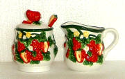 Strawberry Ceramic 3pc sugar creamer set