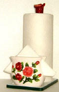 A Paper Towel/Napkin Holder w/Spoon Rest - Rose CLEARANCE!!!