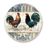 French Rooster Cork-Backed Tile Trivet Set of 2