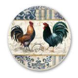 French Rooster Cork-Backed Tile Trivet Set of 2
