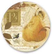 Tuscan Pear Cork-Backed Tile Trivet Set of 2