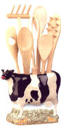 Cows Ceramic Pitcher Utensil Holder
