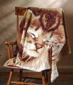 Sleeping Kitten Fleece Blanket Throw