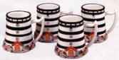 A Lighthouse Ceramic Striped Mug Set