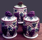A Grapevine 3 Ceramic Storage Jar /Kitchen Canisters