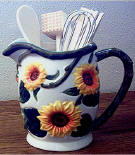 Sunflower Ceramic Pitcher Utensil Holder
