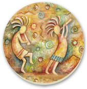 Kokopelli Cork-Backed Tile Trivet Set of 2