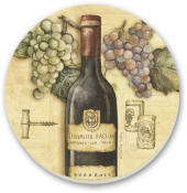 Grape Design Wine Vineyard Cork-Backed Tile Trivet Set of 2